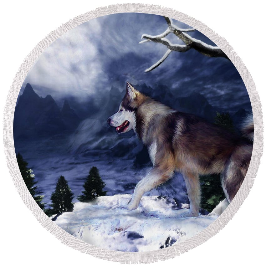 Husky Round Beach Towel featuring the painting Husky - Mountain Spirit by Carol Cavalaris