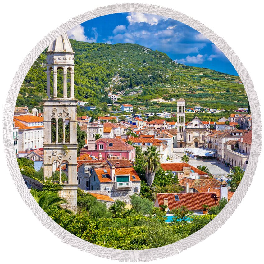 Center Round Beach Towel featuring the photograph Hvar Architecture And Nature Vertical View by Brch Photography
