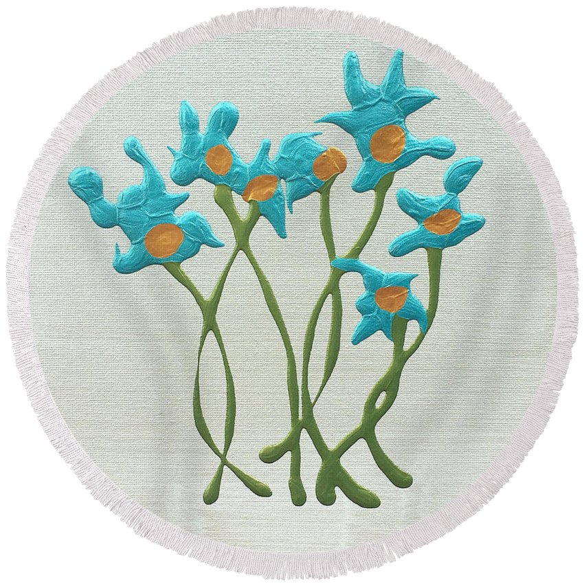 Blue Round Beach Towel featuring the painting Bla Blomst by Pruddygurl Exclusives