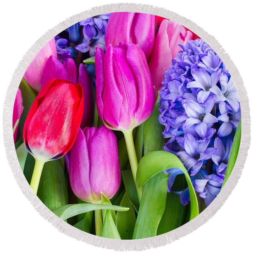 Tulip Round Beach Towel featuring the photograph Hyacinth And Tulip Flowers by Anastasy Yarmolovich