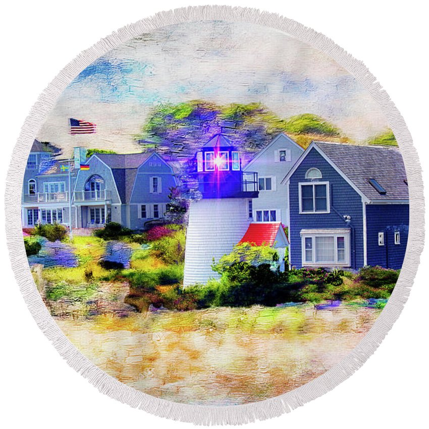 Cape Cod Round Beach Towel featuring the photograph Hyannis Lighthouse by Carlos Diaz