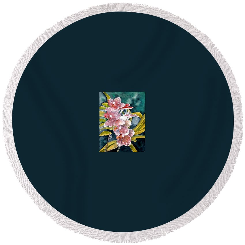 Orchid Round Beach Towel featuring the painting Hybrid Orchids Orchid Flowers by Derek Mccrea