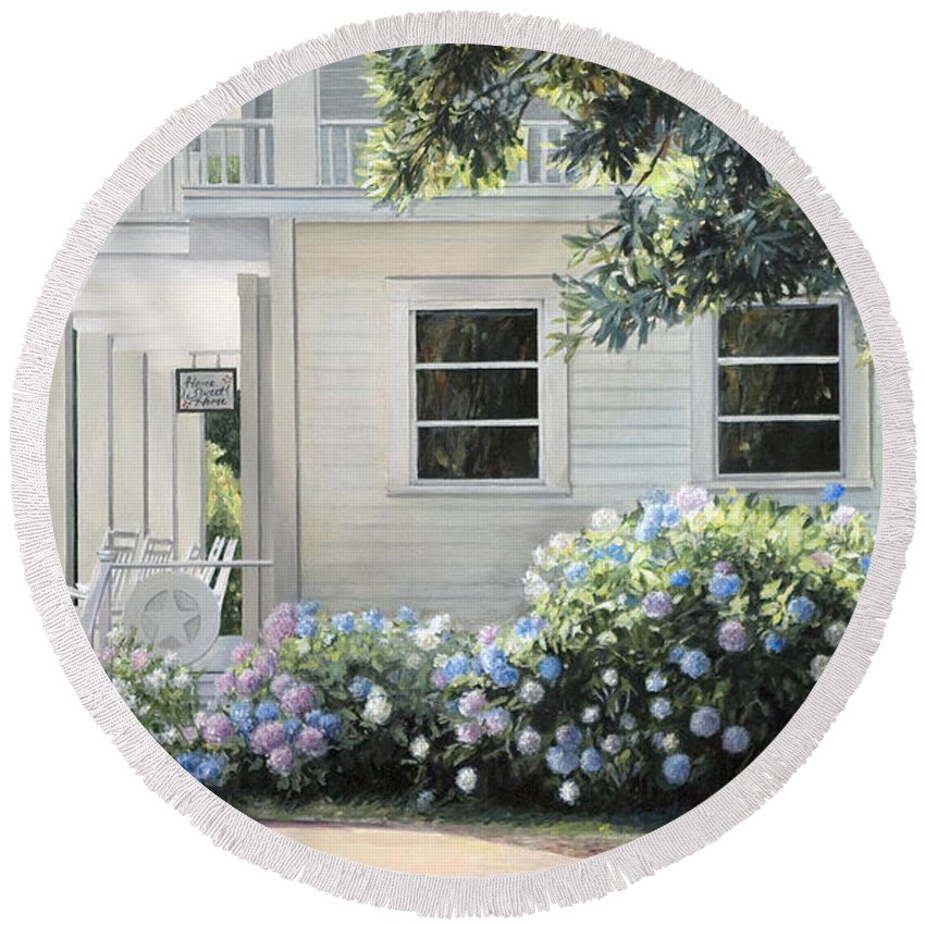 Mansion Round Beach Towel featuring the painting Hydrangea Heaven by Rebecca Zook