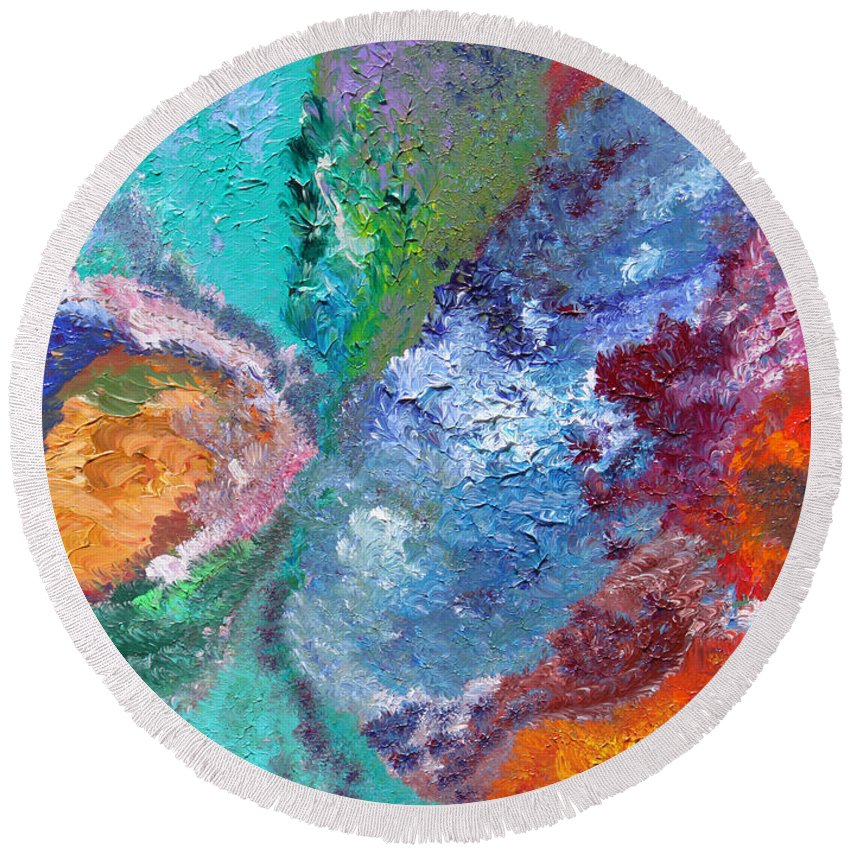 Fusionart Round Beach Towel featuring the painting Hydrangea by Ralph White