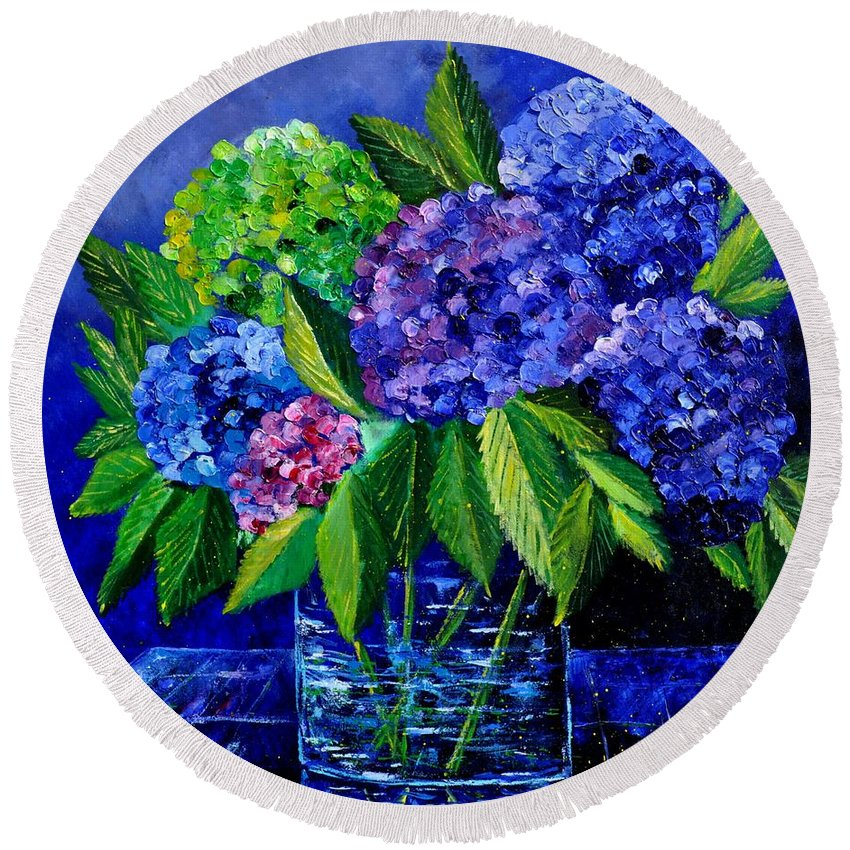 Flowers Round Beach Towel featuring the painting Hydrangeas 88 by Pol Ledent