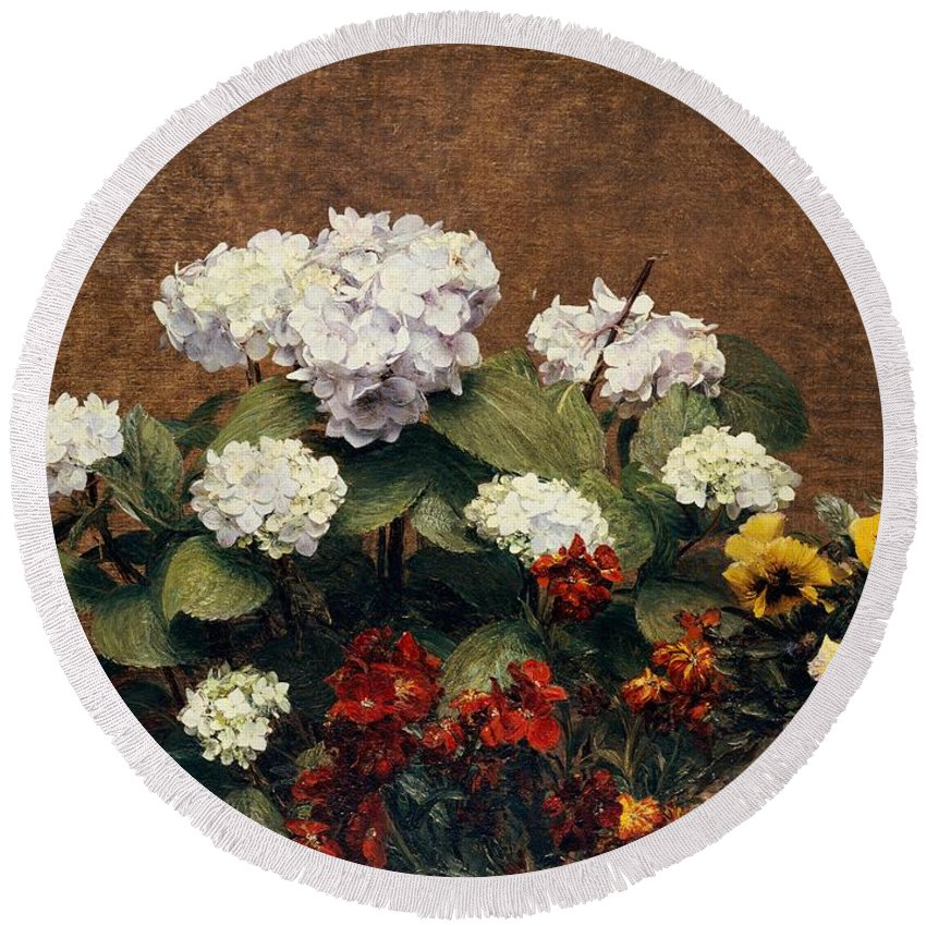 Still-life Round Beach Towel featuring the painting Hydrangeas And Wallflowers And Two Pots Of Pansies by Henri Jean Fantin-Latour