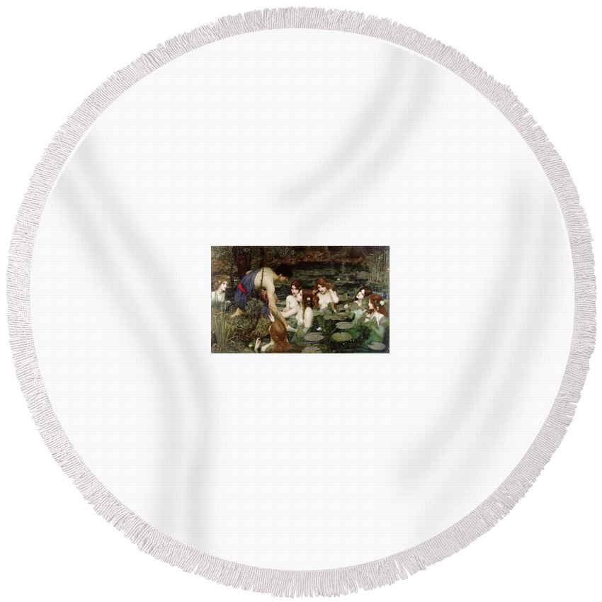 Outdoors Round Beach Towel featuring the digital art Hylas And The Nymphs John William Waterhouse by Eloisa Mannion