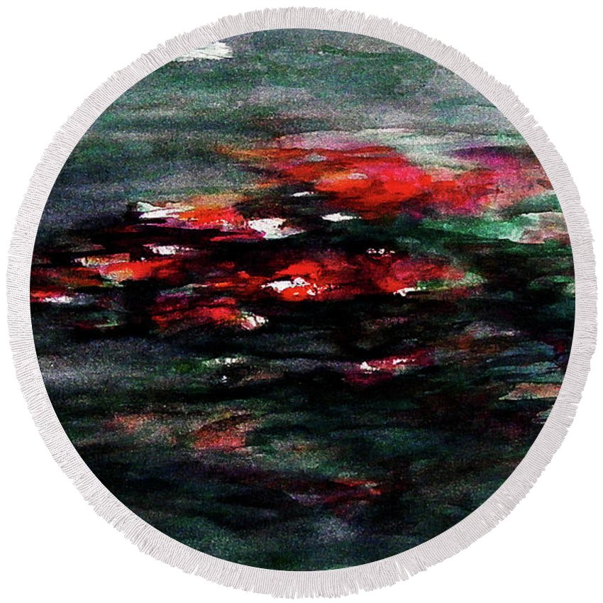 Abstract Round Beach Towel featuring the painting Hypnotic Alterations by William Russell Nowicki