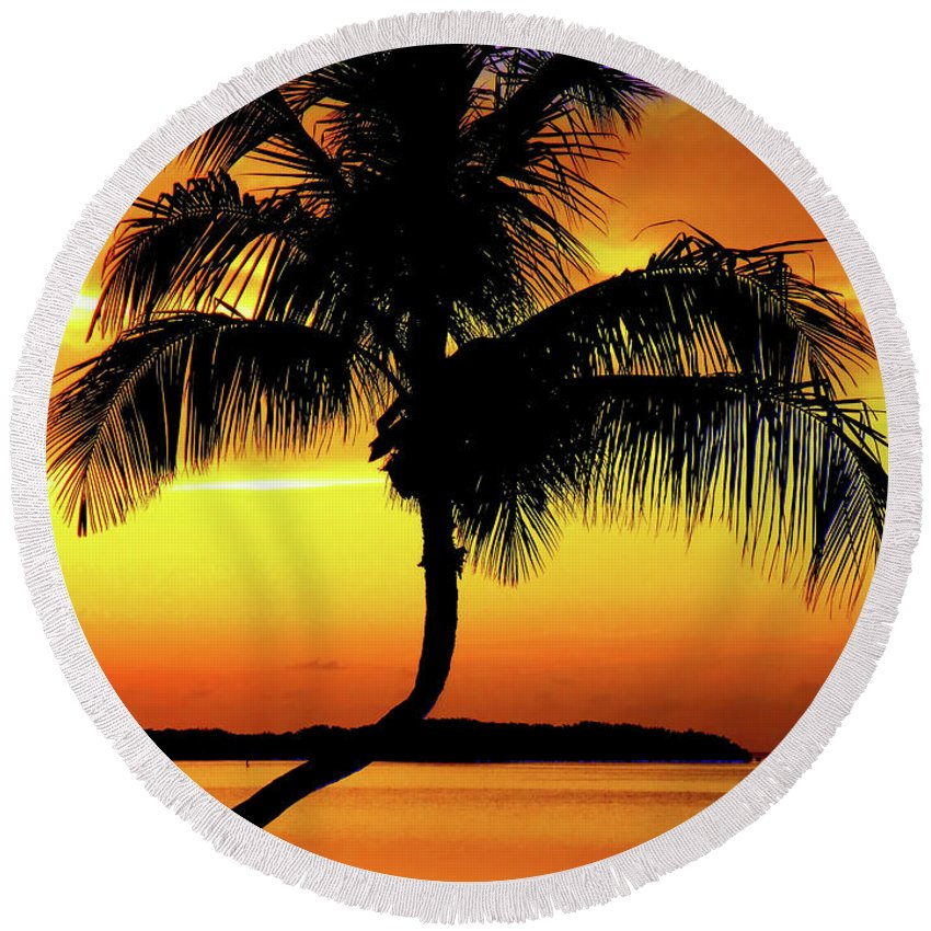 Palm Tree Silhouettes Round Beach Towel featuring the photograph Hypnotic by Karen Wiles