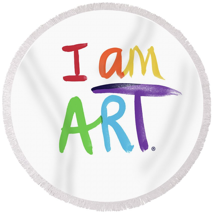 Rainbow Round Beach Towel featuring the painting I AM ART Rainbow Script- Art by Linda Woods by Linda Woods