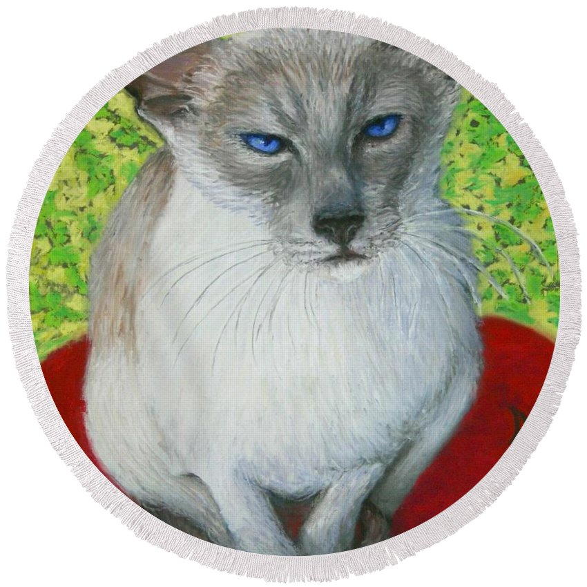 Siamese Round Beach Towel featuring the painting I Am Siamese If You Please by Minaz Jantz