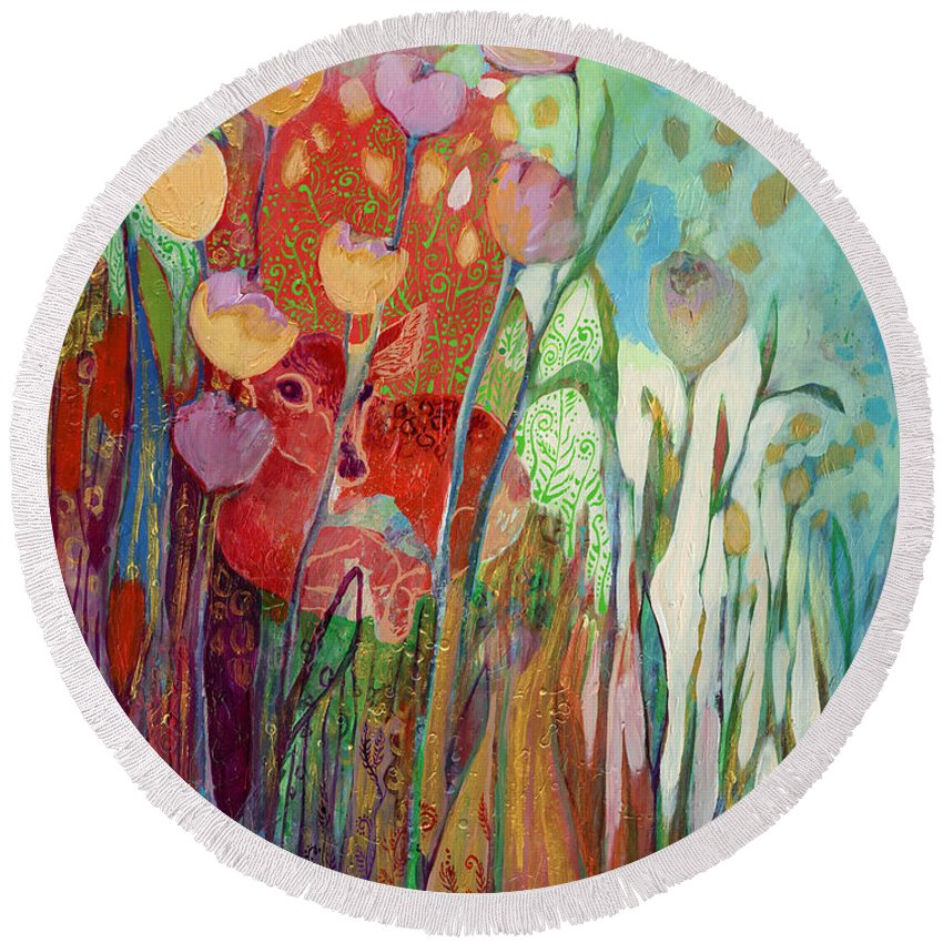 From The I Am Series Of Abstract Wildlife And Nature Images Round Beach Towel featuring the painting I Am The Grassy Meadow by Jennifer Lommers