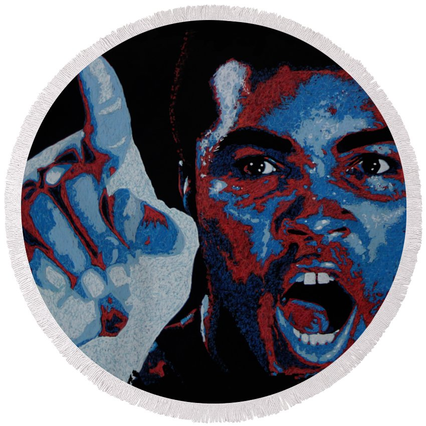 Muhammad Ali Round Beach Towel featuring the painting I Am The Greatest by Maria Arango