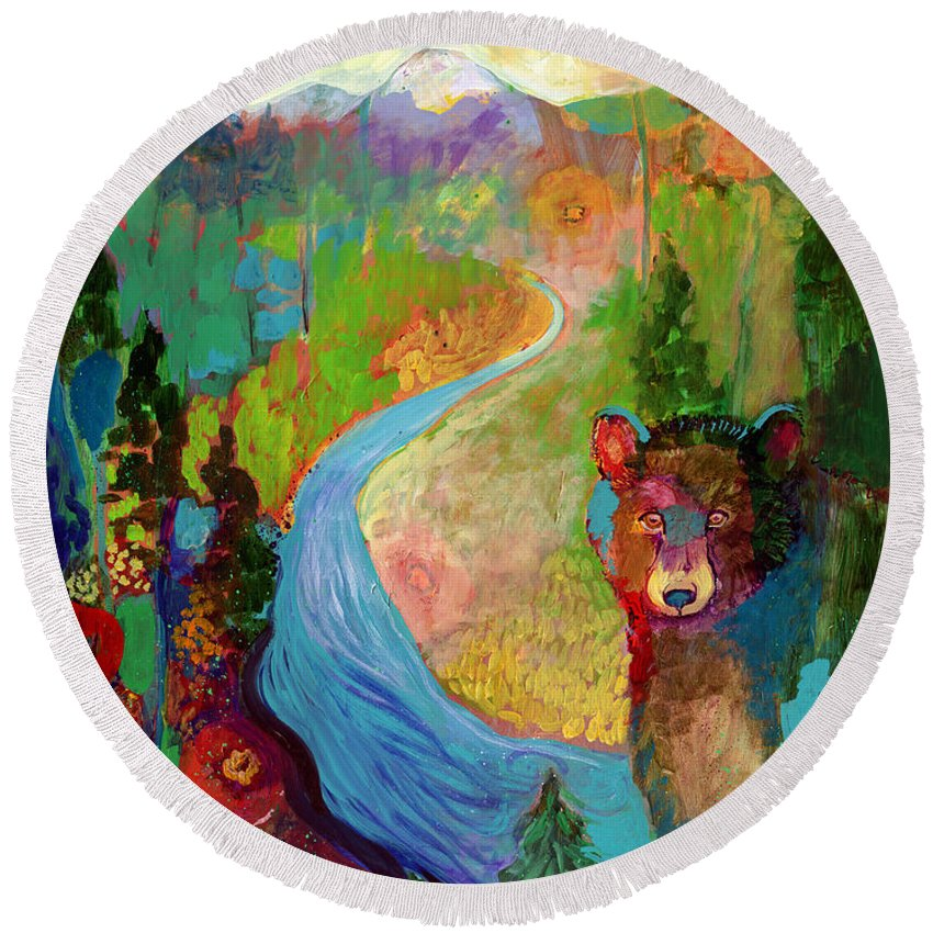 Bear Round Beach Towel featuring the painting I Am The Mountain Stream by Jennifer Lommers