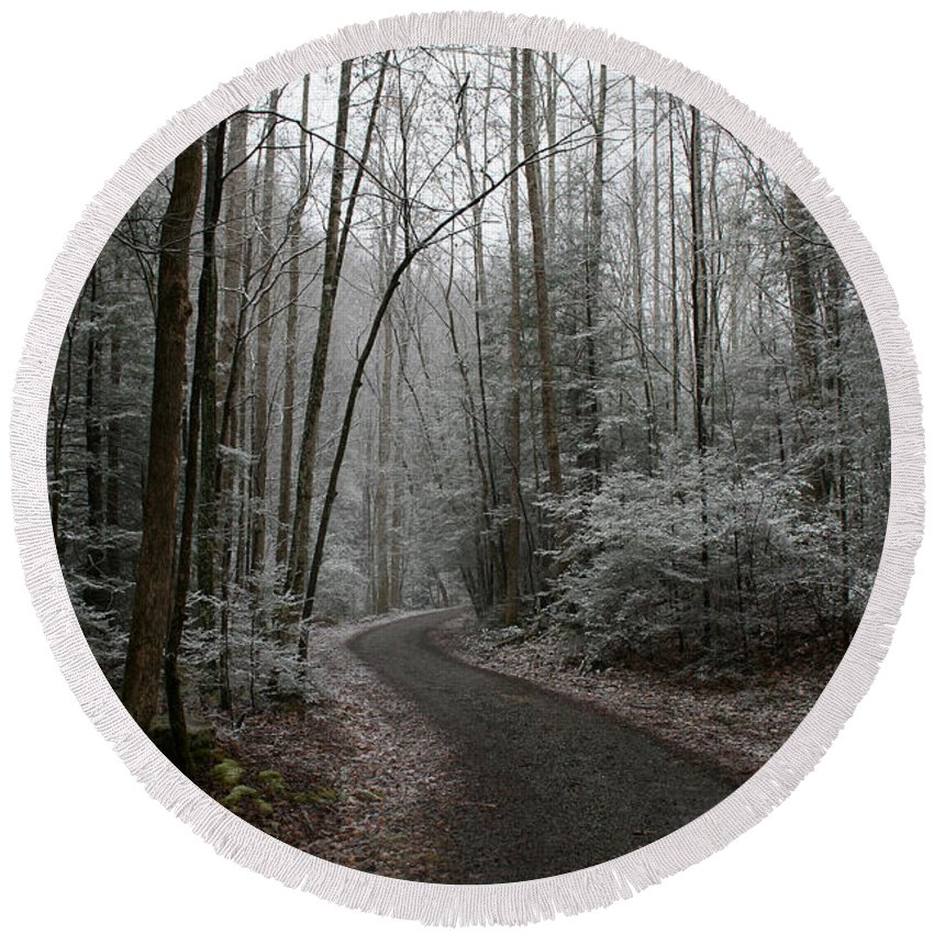 Nature Road Country Woods Forest Tree Trees Snow Winter Peaceful Quite Path White Forest Drive Round Beach Towel featuring the photograph I Am The Way by Andrei Shliakhau