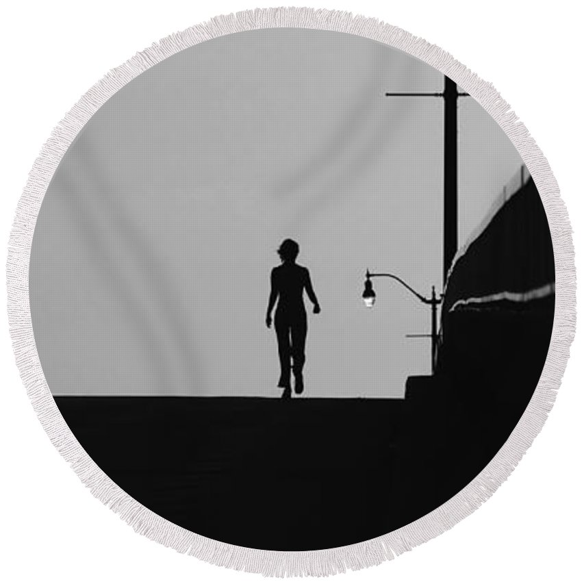Female Round Beach Towel featuring the photograph I Am Woman by David Lee Thompson
