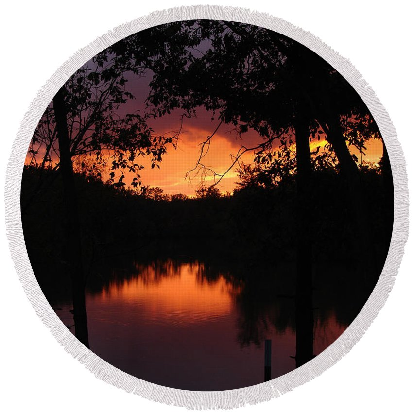 Sunset Round Beach Towel featuring the photograph I Found Red October by J R Seymour