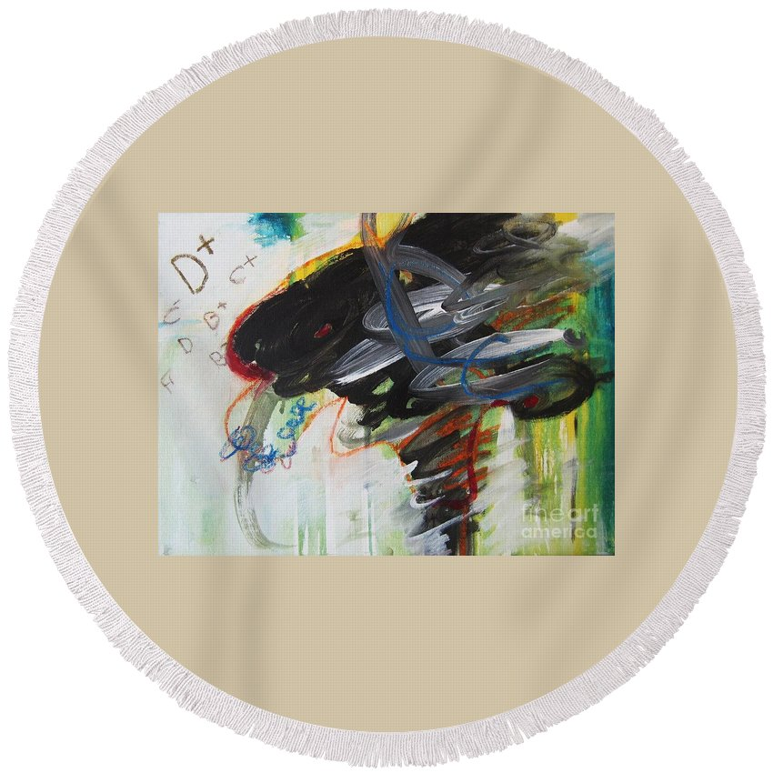 Abstract Paintings Paintings Abstract Art Paintings Round Beach Towel featuring the painting I Got D by Seon-Jeong Kim