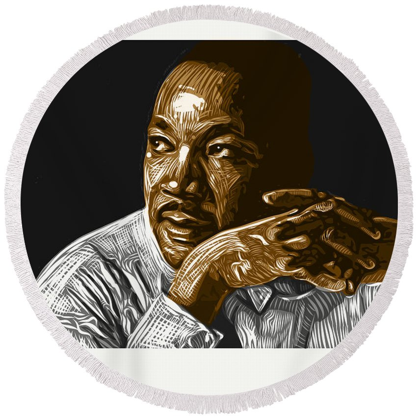 Dr. Martin Luther King Jr. Round Beach Towel featuring the digital art I Have A Dream . . . by Antonio Romero