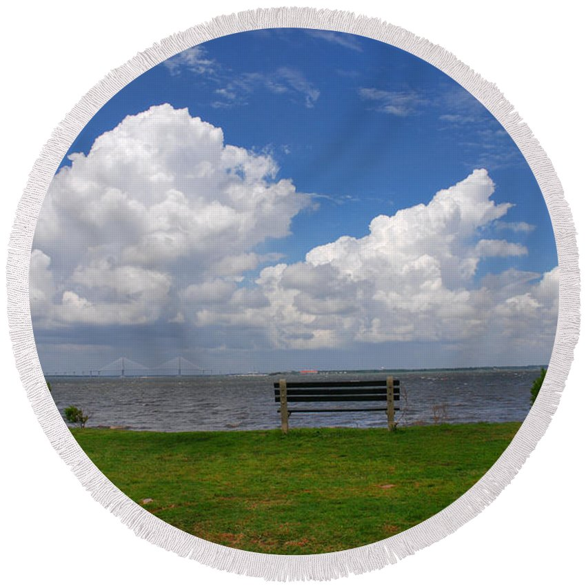 Bench Photos Round Beach Towel featuring the photograph I Have Been Sitting There Many Times by Susanne Van Hulst