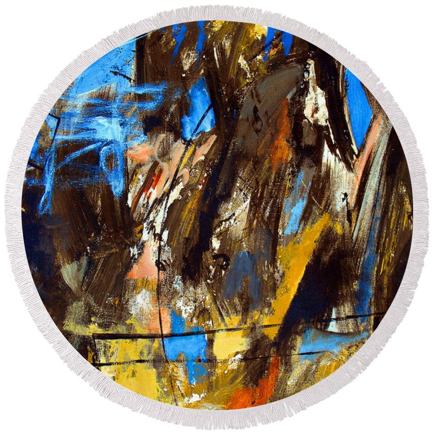 Abstract Round Beach Towel featuring the painting I Hear You Through The Noise by Ruth Palmer