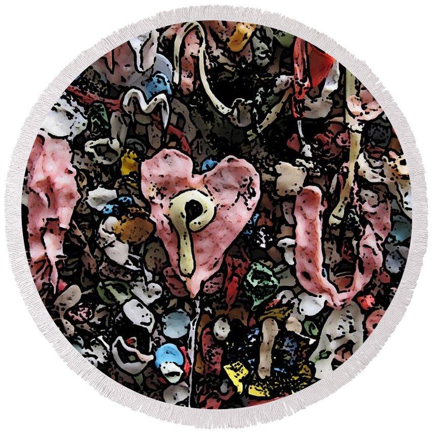 Heart Round Beach Towel featuring the digital art I Heart You by Tim Allen