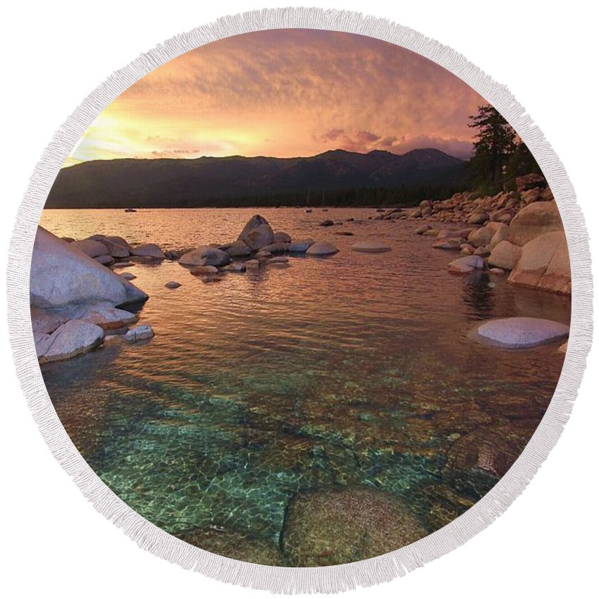 Lake Tahoe Round Beach Towel featuring the photograph I Love Lake Tahoe by Sean Sarsfield