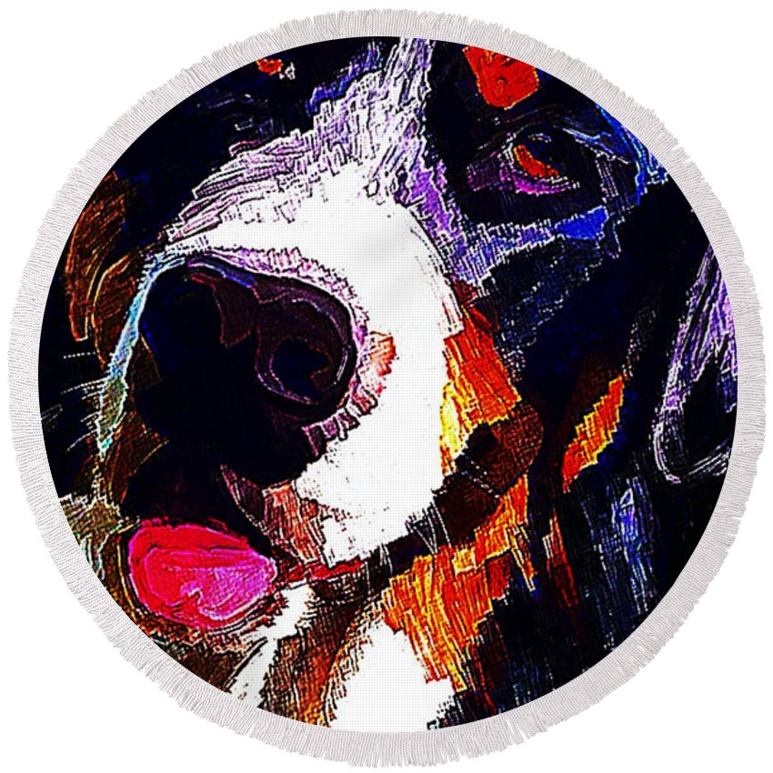 Dog Round Beach Towel featuring the painting I Love Mountain Dogs by Karen Harding