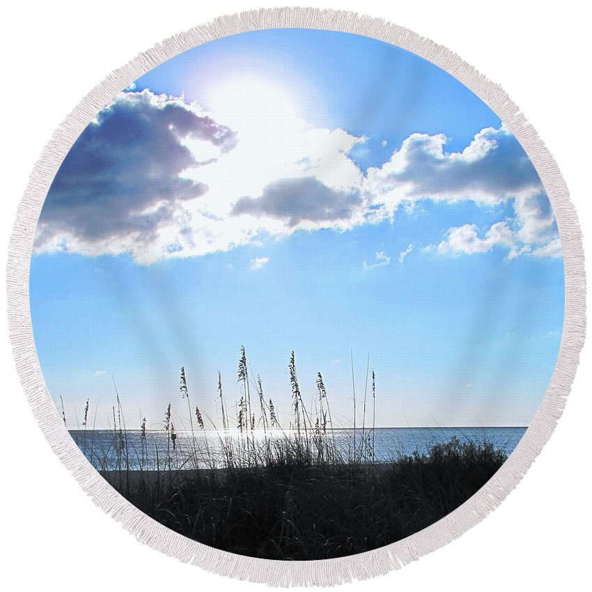 Ocean Round Beach Towel featuring the photograph I Sat And Watched The Sun Go Down by Ian MacDonald