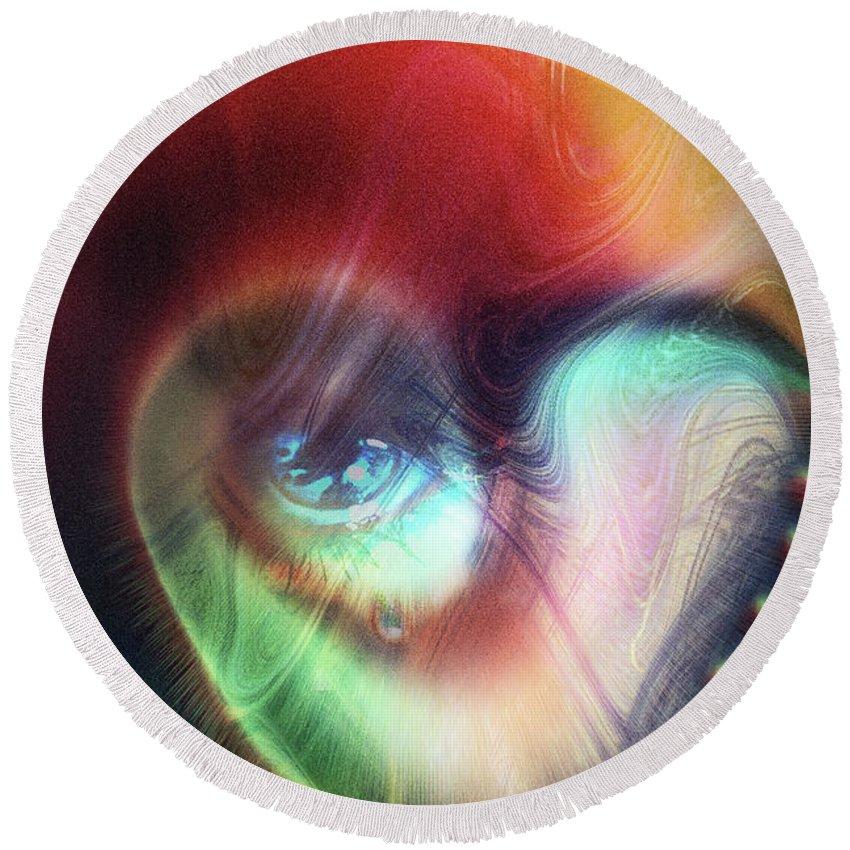 I Saw The Light Round Beach Towel featuring the digital art I Saw The Light by Linda Sannuti