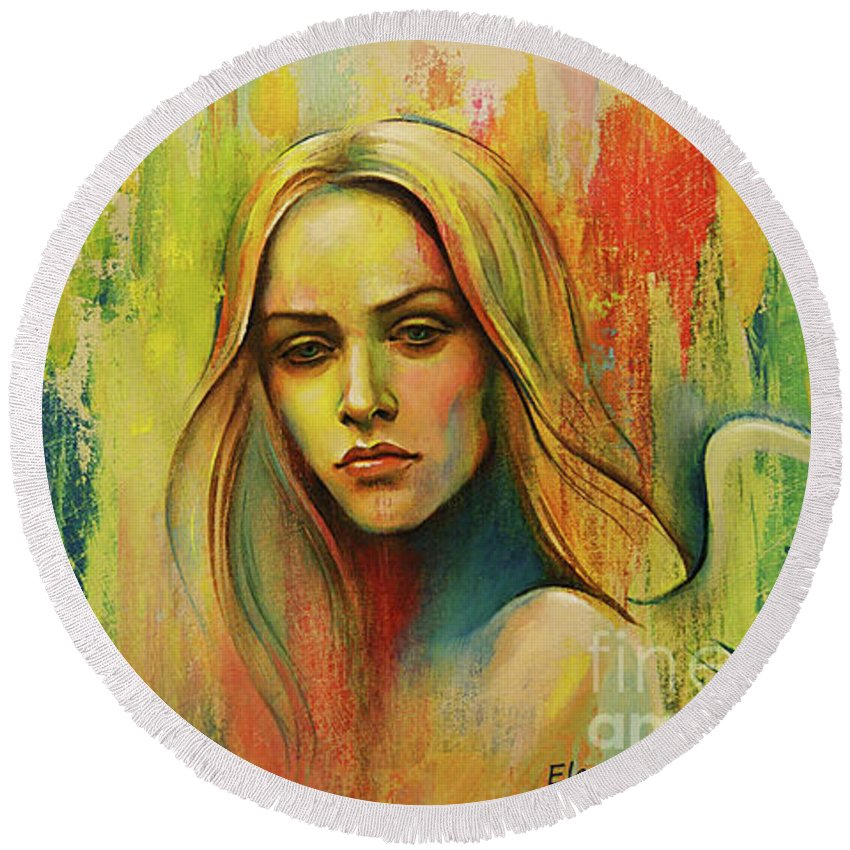 Angel Round Beach Towel featuring the painting I Think About You_x by Elena Makarova-Levina