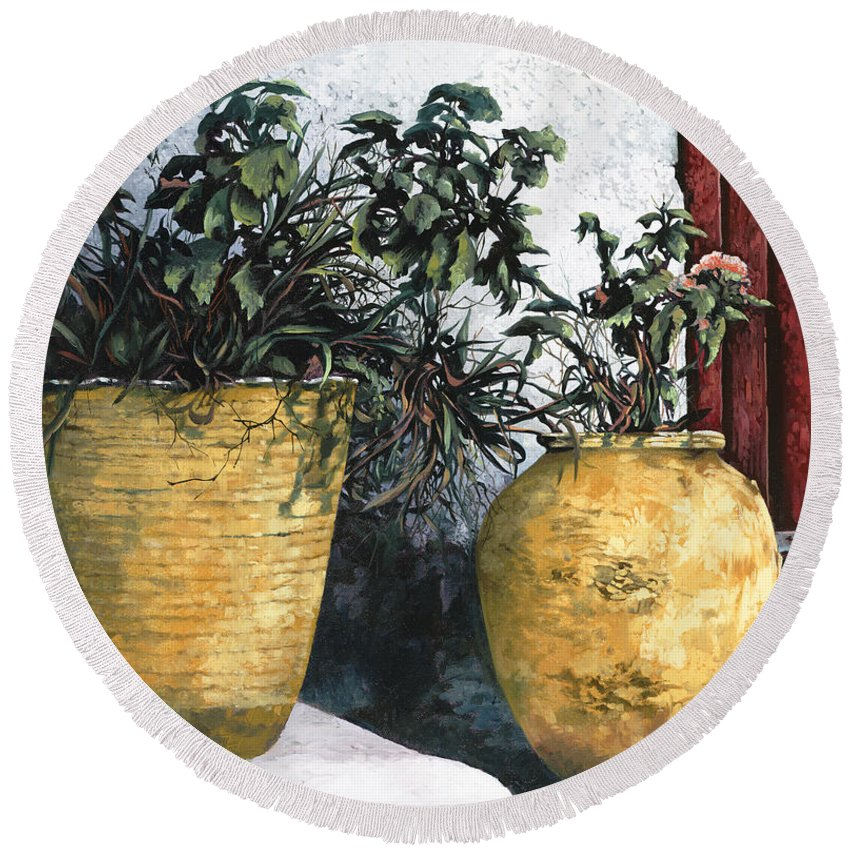 Vases Round Beach Towel featuring the painting I Vasi by Guido Borelli