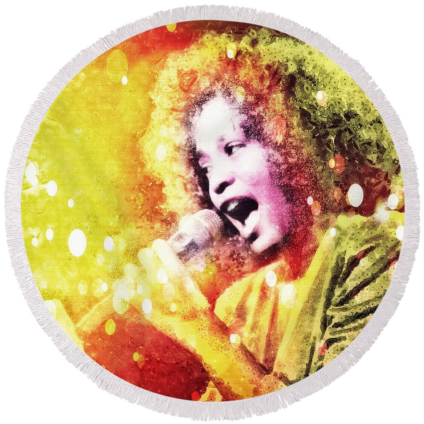 Whitney Houston Round Beach Towel featuring the digital art I Will Always Love You by Mo T