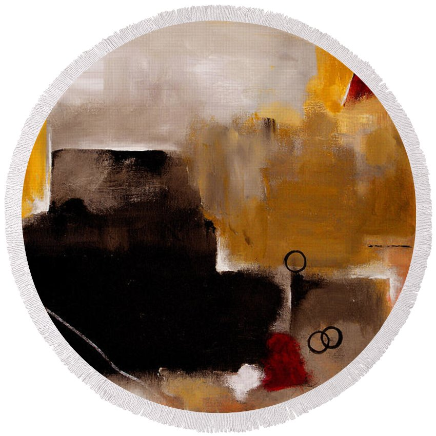 Abstract Round Beach Towel featuring the painting I Wonder by Ruth Palmer