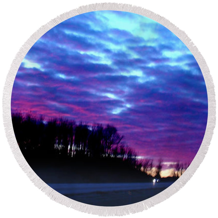 Landscape Round Beach Towel featuring the photograph I70 West Ohio by Steve Karol
