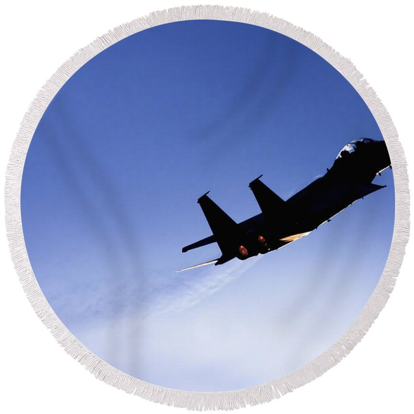 Aircraft Round Beach Towel featuring the photograph Iaf F15i Fighter Jet by Nir Ben-Yosef