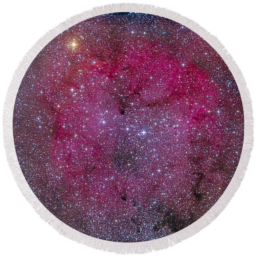 Cepheus Round Beach Towel featuring the photograph Ic 1396 And Garnet Star In Cepheus by Alan Dyer