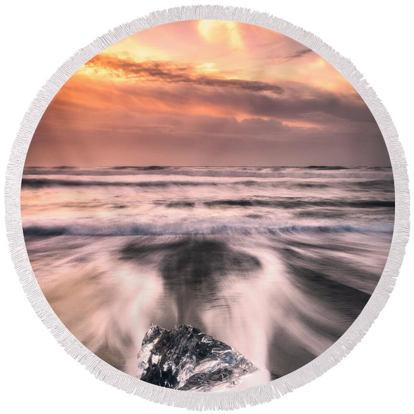 Landscape Round Beach Towel featuring the photograph Ice And Fire by Mikkel Beiter