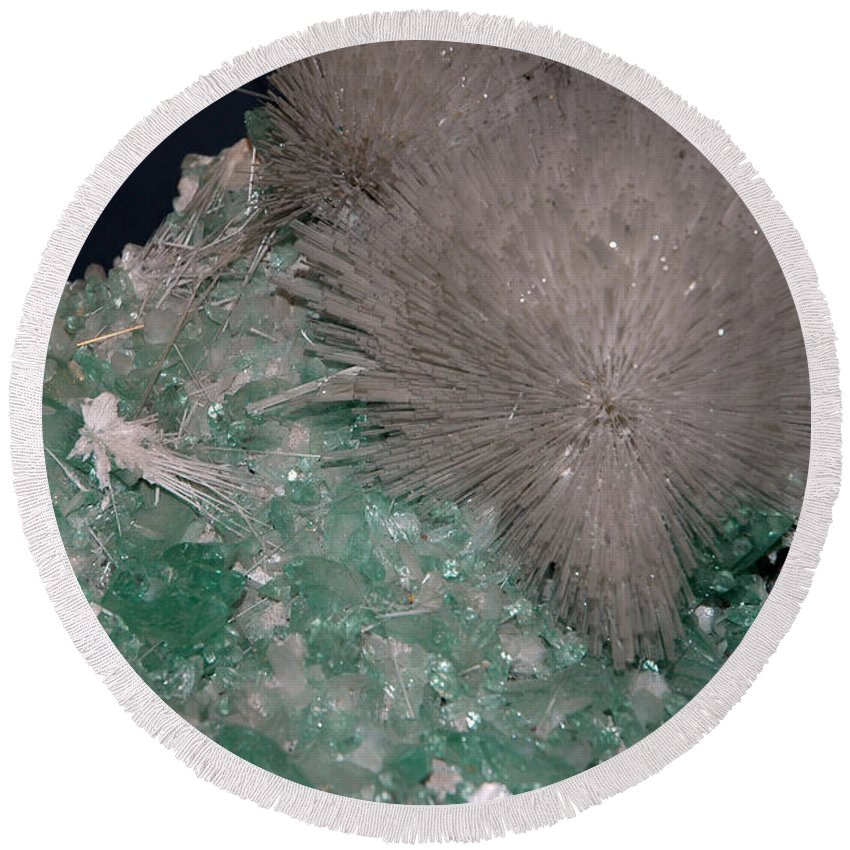 Usa Round Beach Towel featuring the photograph Ice Blue Frosty Fluorite by LeeAnn McLaneGoetz McLaneGoetzStudioLLCcom