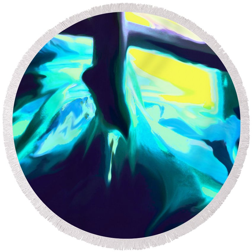 Ice Round Beach Towel featuring the digital art Ice Cave by Ian MacDonald