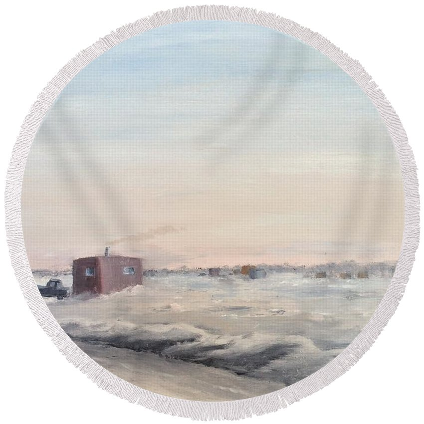 Landscape Round Beach Towel featuring the painting Ice Houses On Mille Lacs by J O Huppler