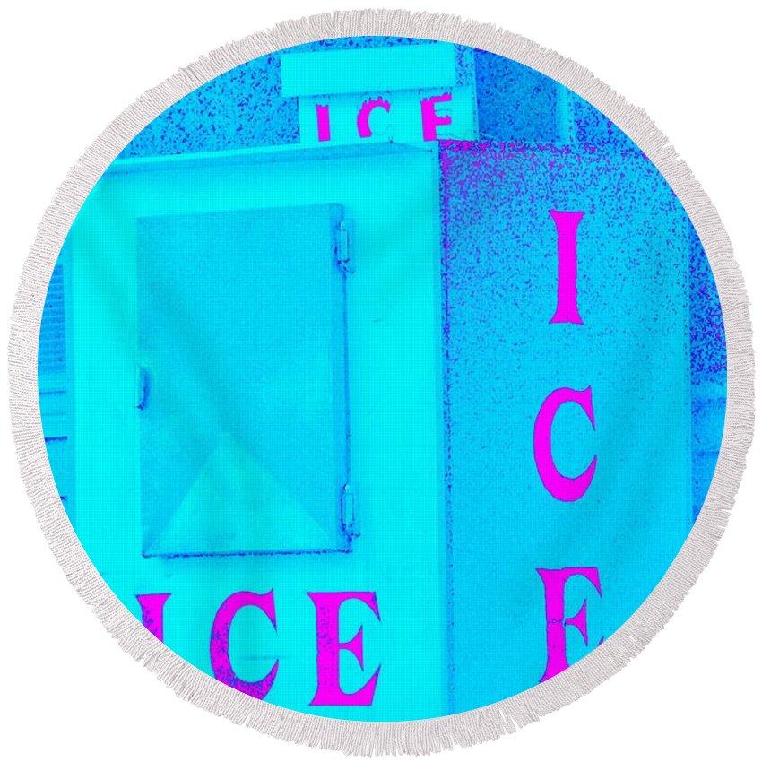Ice Machine Round Beach Towel featuring the photograph Ice Ice Baby by Zen WildKitty