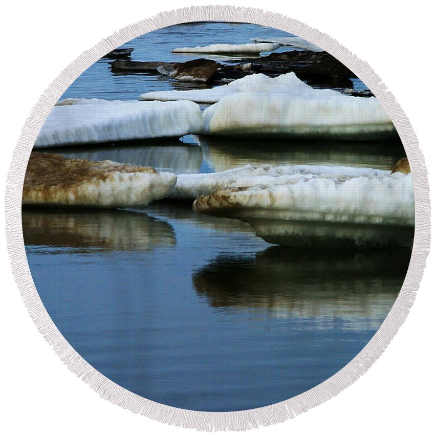 Ice Round Beach Towel featuring the photograph Ice In The Arctic by Anthony Jones