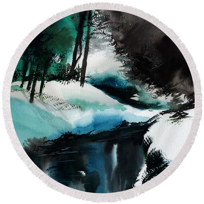 Snow Round Beach Towel featuring the painting Ice Land by Anil Nene