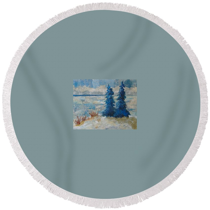Landscape Round Beach Towel featuring the mixed media Ice On Lake Erie by Pat Snook