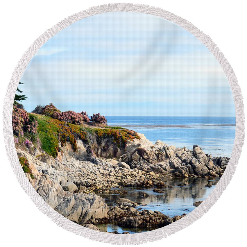 Ice Plant Along The Monterey Shore Round Beach Towel featuring the painting Ice Plant Along The Monterey Shore 2 by Barbara Snyder