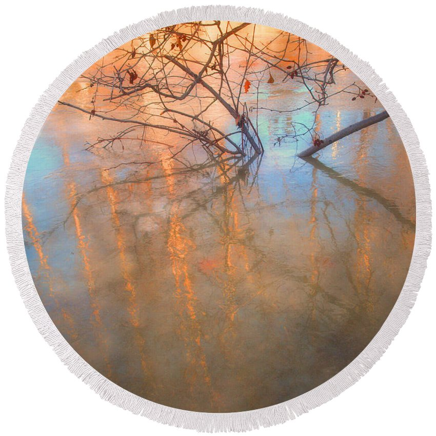 Ice Round Beach Towel featuring the photograph Ice Reflections 2 by Tara Turner