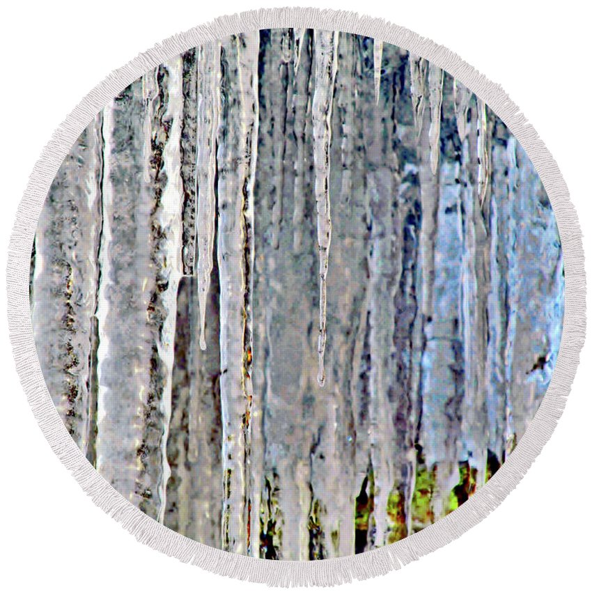 Ice Sickles Round Beach Towel featuring the photograph Ice Sickle Curtains by Don Baker