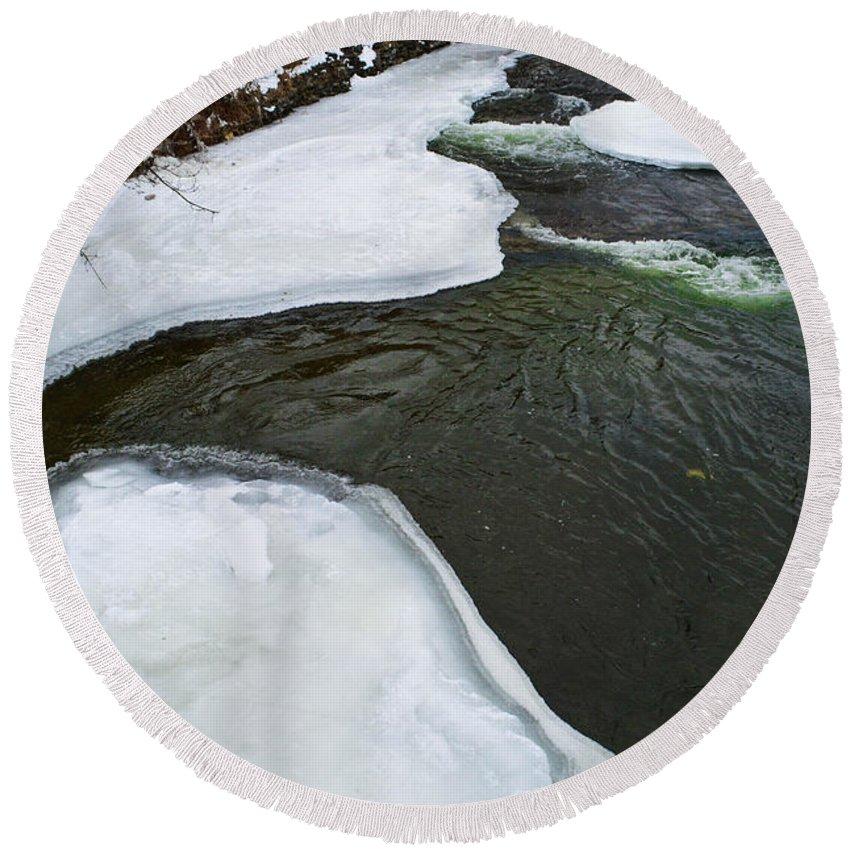 Ice Round Beach Towel featuring the photograph Ice Whirlpool by Miranda Strapason