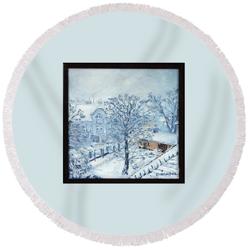 Landscape Round Beach Towel featuring the painting Ice White by Pablo de Choros